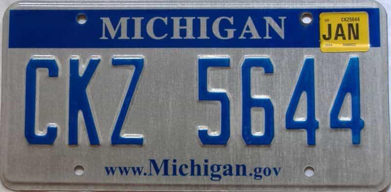 2014 Michigan license plate for sale