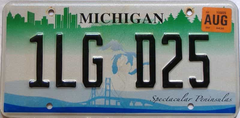 2015 Michigan license plate for sale