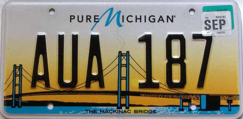 2017 Michigan license plate for sale