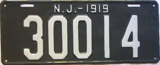1919 New Jersey  (Very Nice Repaint) license plate for sale