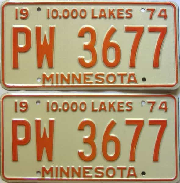 1974 Minnesota  (Pair) license plate for sale
