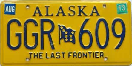 2013 Alaska  (Single) license plate for sale