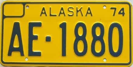 1974 Alaska  (Single) license plate for sale
