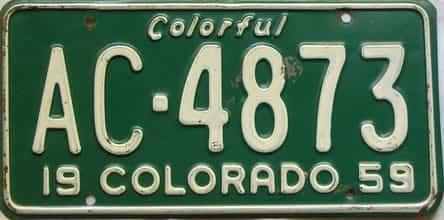 1959 Colorado  (Single) license plate for sale