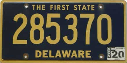 2020 Delaware license plate for sale
