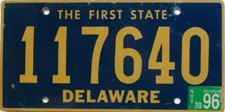 1996 Delaware license plate for sale