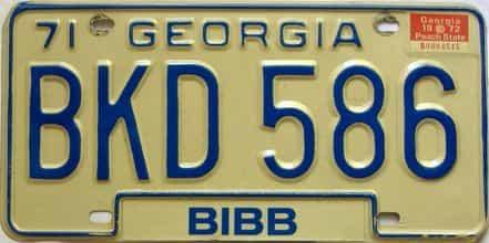 YOM 1972 Georgia YOM 1971 - 1989 license plate for sale