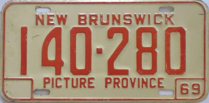 1969 New Brunswick  (Single) license plate for sale