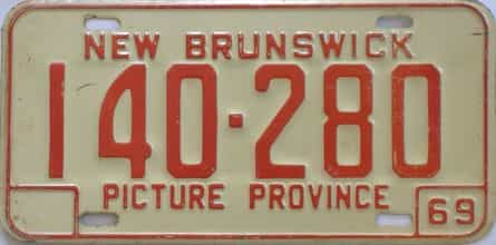1969 New Brunswick (Single) license plate for sale