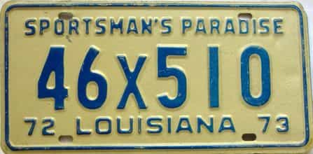 1972 Louisiana license plate for sale
