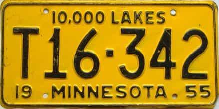 1955 Minnesota  (Farm Truck) license plate for sale