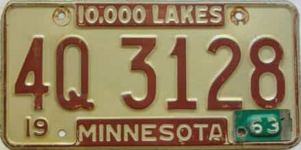 1963 Minnesota  (Single) license plate for sale