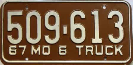 1967 Missouri  (Truck) license plate for sale