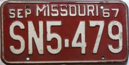 1967 Missouri license plate for sale