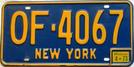 1973 New York  (Single) license plate for sale