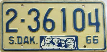 1966 South Dakota  (Single) license plate for sale