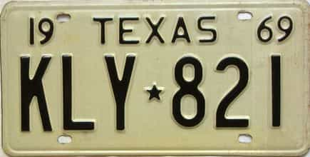 1969 Texas  (Single) license plate for sale
