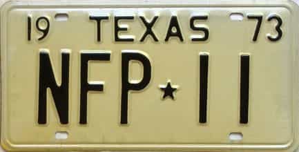 1973 Texas  (Single) license plate for sale