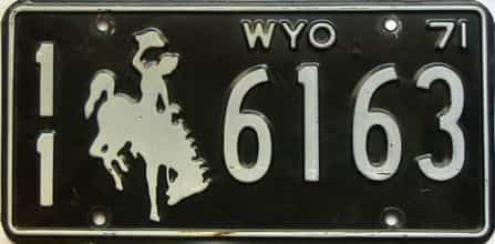1971 Wyoming  (Single) license plate for sale