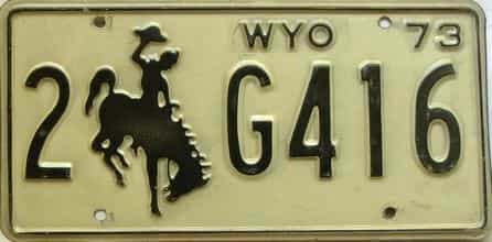 1973 Wyoming  (Single) license plate for sale