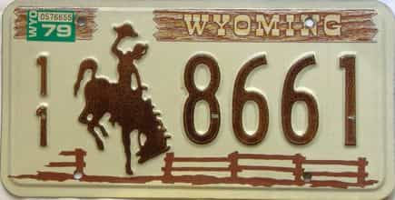 1979 Wyoming  (Single) license plate for sale