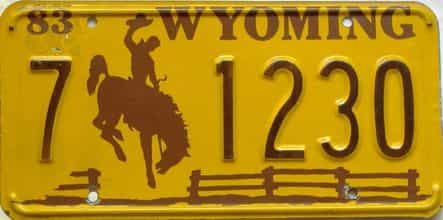 1983 Wyoming  (Single) license plate for sale
