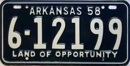 1958 Arkansas license plate for sale