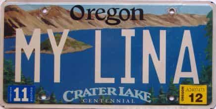 2012 Oregon  (Single) license plate for sale