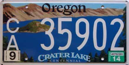2014 Oregon  (Single) license plate for sale
