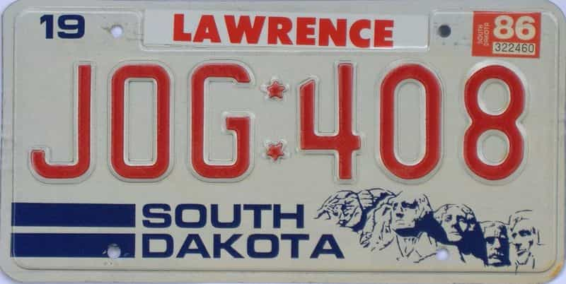 1986 South Dakota license plate for sale