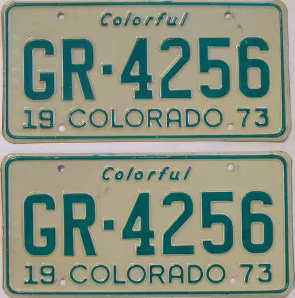 1973 Colorado  (Pair) license plate for sale
