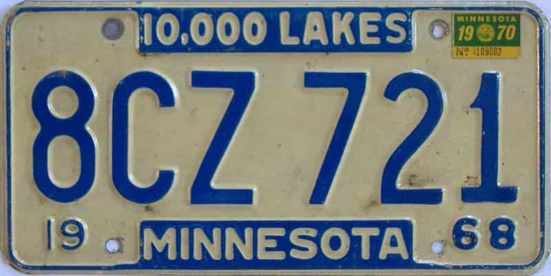 1970 MN (Single) license plate for sale