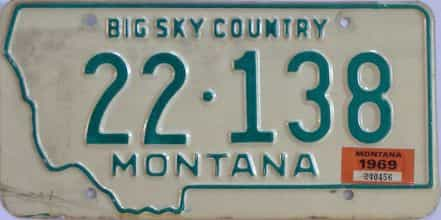 1969 Montana (Single) license plate for sale