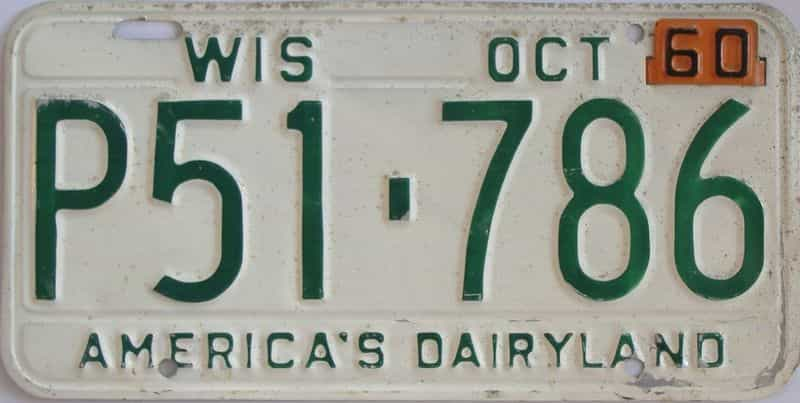 1960 Wisconsin  (Single) license plate for sale