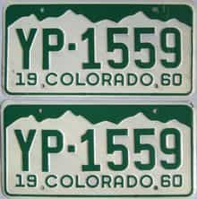 1960 Colorado (Pair) license plate for sale