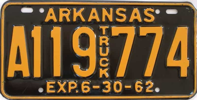 1962 AR (Truck) license plate for sale