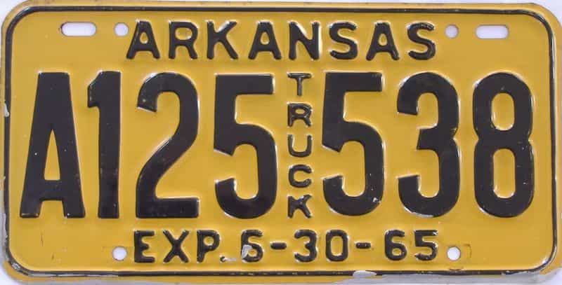 1965 AR (Truck) license plate for sale