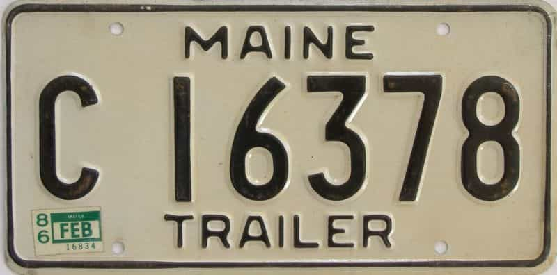 1986 Maine  (Trailer) license plate for sale