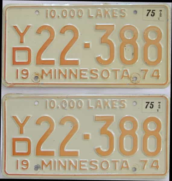 1975 MN (Pair) license plate for sale
