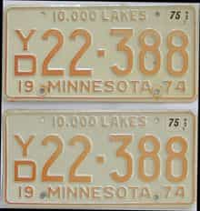 1975 Minnesota (Pair) license plate for sale