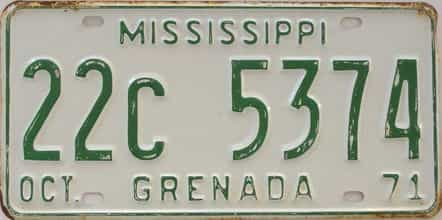 1971 Mississippi license plate for sale