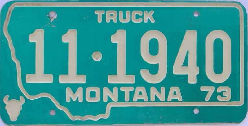 1973 MT (Truck) license plate for sale