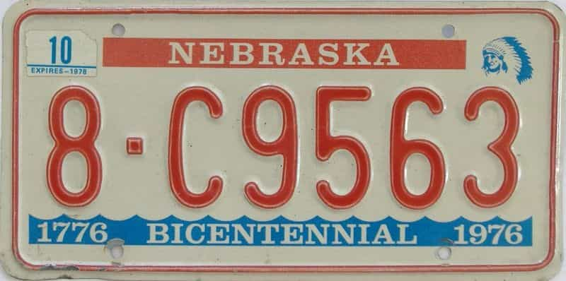 1976 NE (Single) license plate for sale