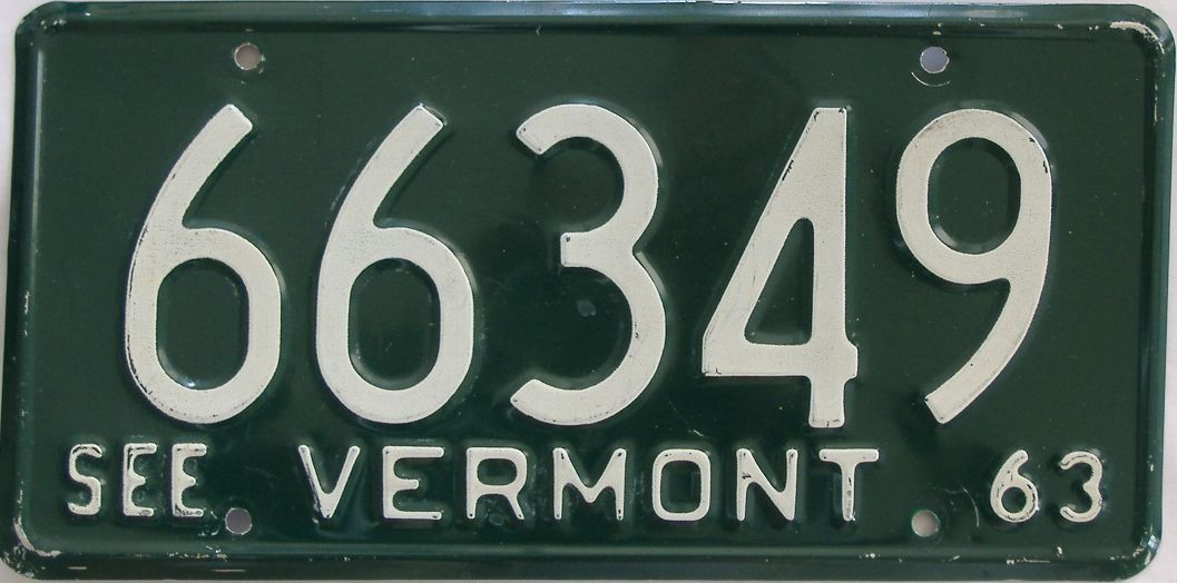 1963 Vermont (Single) license plate for sale