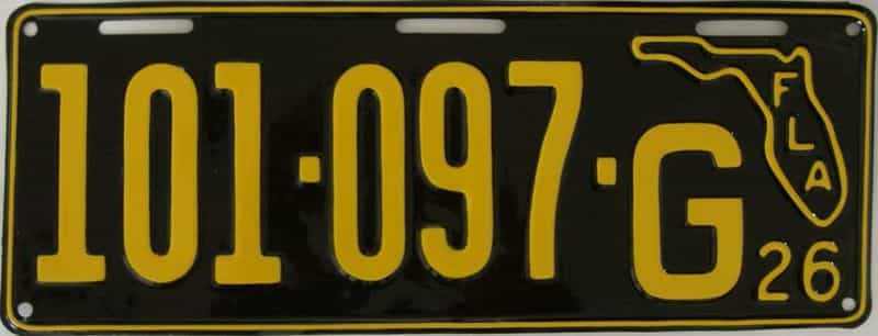 RESTORED 1926 Florida license plate for sale