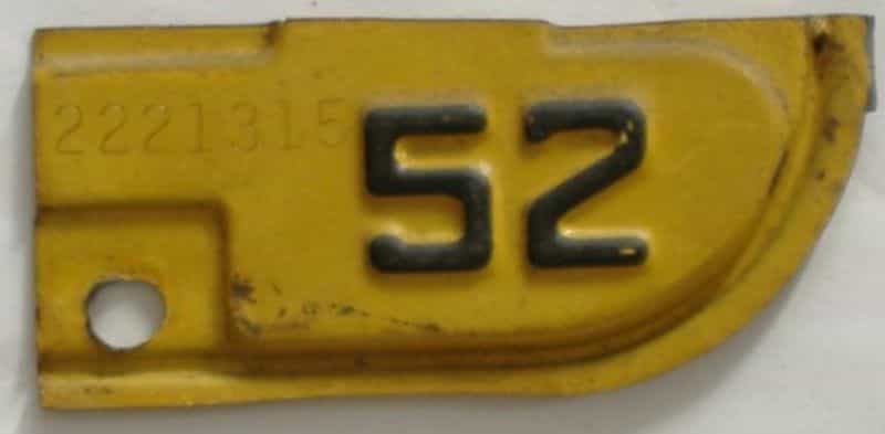 1952 California  (Single) license plate for sale