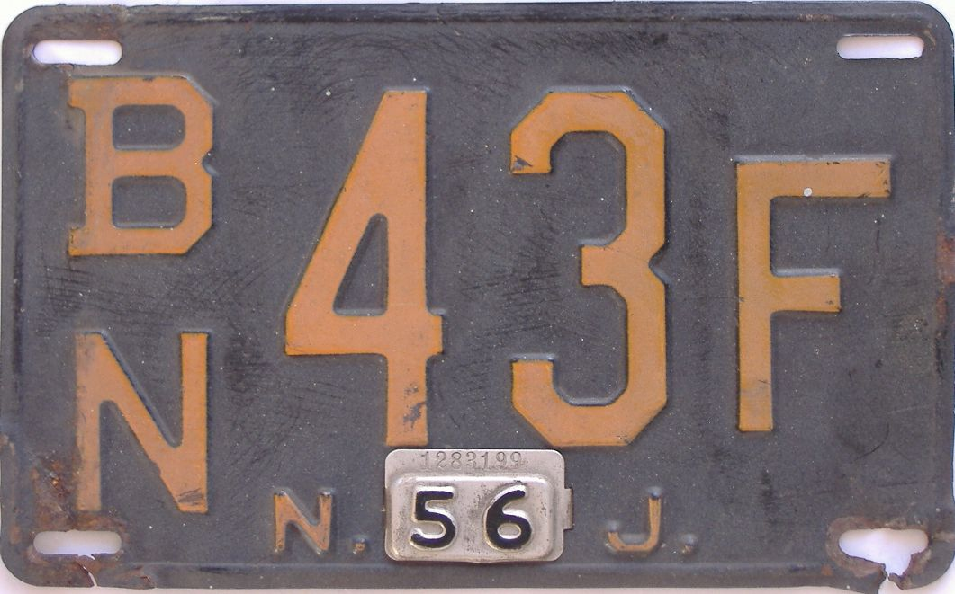 1956 New Jersey (Single) license plate for sale