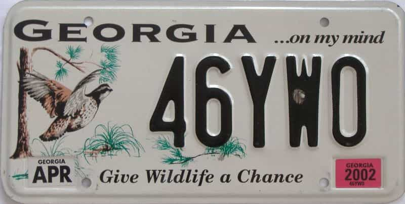 2002 GA license plate for sale