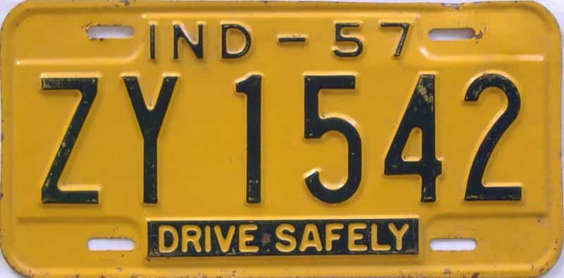 1957 Indiana license plate for sale