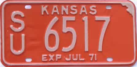 1971 Kansas license plate for sale